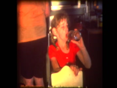 Young girl drinks soda and dances Stock Footage