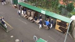 4k Basket car drivers starting Monte palace Madeira Stock Footage