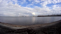 Timelapse on surface of river Dnieper Stock Footage