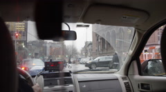 Interior taxi cab meter windshield rearview mirror 4k Manhattan NYC Stock Footage