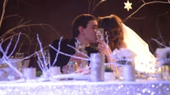 Kiss the bride at the wedding table - stock footage