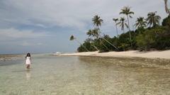 Semporna Sabah Borneo Malaysia female travel Island beach Stock Footage