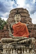 Stone statue of a Buddha in Wat Yai Chai Mongkhon of Ayuthaya Province ,Thail Stock Photos