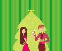 Young couple flirt and drink champagne near by Christmas Tree Stock Illustration