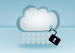 Data security breach in the cloud represented by open lock attached to a cloud Stock Illustration