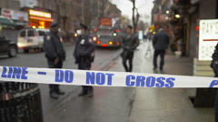 police tape at site of disaster in 4k, East Village, Manhattan NYC - stock footage