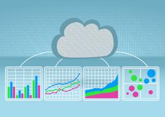 Bar chart, line chart, bubble chart in order to analyze big data from the cloud - stock illustration