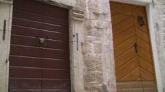 Old wood doors,Old  City Kotor full HD Stock Footage