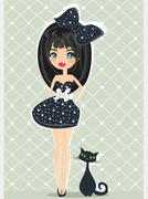 Sweet girl and her cat Stock Illustration