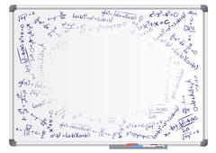 illustration of blank whiteboard with mathematics formula - stock illustration
