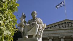 Plato Marble Statue Attractions Greece Stock Footage