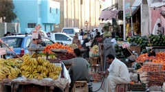 Arabic farmer market sell fresh fruits and vegetables on a covered bazaar Stock Footage