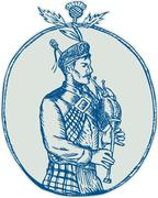 Scotsman Bagpiper Playing Bagpipes Etching - stock illustration