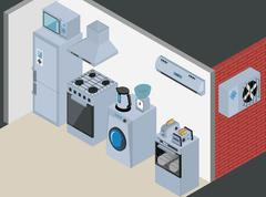 Household Icons appliances. Isometric Kitchen Appliances. Major household - stock illustration
