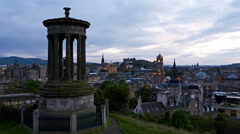 timelapse of sunset over Edinburgh, Scotland - stock footage