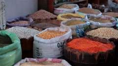 Arabic farmer market sell grain fruits and vegetables groats on a covered bazaar Stock Footage