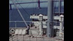 Tilt Up From Ship Deck to Golden Gate Bridge 1954 Stock Footage