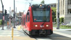 San Diego MTS red trolly train 2 Stock Footage