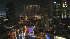 Clarke Quay skyline illuminated waterfront marina travel Stock Footage