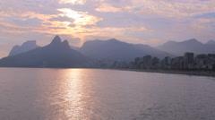 Sunset at Ipanema Beach, Rio de Janeiro, Brazil. Time lapse. Arpoador, 4K Stock Footage