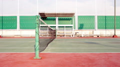 Tennis court with net tracking left Stock Footage