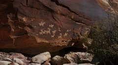 Still shot of Native American pictograph carvings  Stock Footage