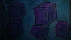 Video motion graffiti  square, avant-garde, cube ornament night light moves - stock footage