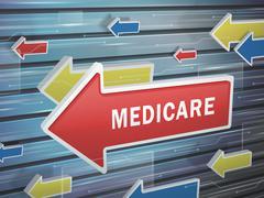 Moving red arrow of medicare word Stock Illustration