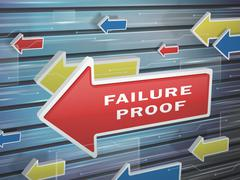 Moving red arrow of failure proof words Stock Illustration