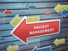 Stock Illustration of moving red arrow of project management words