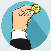 hand and pond coin - stock illustration