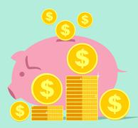 SAVING MONEY AND PIGGY - stock illustration