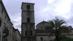 OLD STONE CHURCH ON SQUARE  ,Old  City Kotor full HD Stock Footage