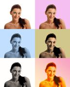 Choosing Filter for a selfie - stock photo