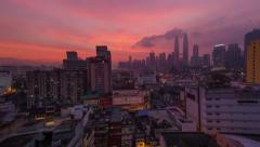 Sunrise Time-lapse Pan of Kuala Lumpur City Centre. Petronas Towers Stock Footage