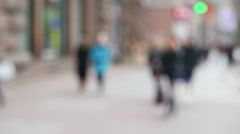 Blurred silhouettes of people on city street.4K ( 3840x2160) Stock Footage