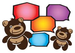 Stock Illustration of Two Smiley Cartoon Teddy Bears Conversation