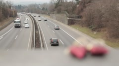By motorway sweep machines. Stock Footage