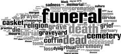 Funeral word cloud - stock illustration