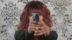 Jm1580 Young Beautiful Woman Shooting Gun Both Hands Stock Footage