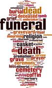Funeral word cloud Stock Illustration