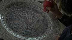 Artisan Hand Painting Ceramic Plate Stock Footage
