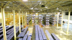 Interior of new large and modern warehouse - stock footage