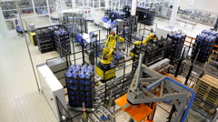 New large warehouse of pure bottled water. - stock footage