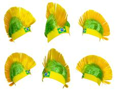 Headgear fan of the Brazilian national team Stock Photos