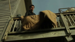 Drying blanket outside shake Stock Footage