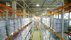 Bottled pure water inside a storage warehouse. Stock Footage