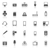 Gadget icons with reflect on white background - stock illustration