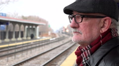 Man waiting for train Stock Footage