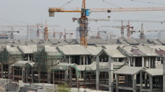 Construction site of Chinese traditional architecutures Stock Footage